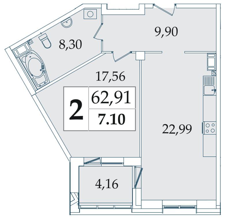 Планировка Двухкомнатная квартира (Евро) площадью 62.91 кв.м в ЖК «Avatar»