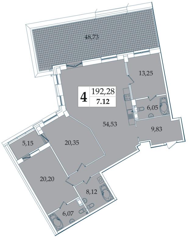 Планировка Трёхкомнатная квартира площадью 192.28 кв.м в ЖК «Avatar»