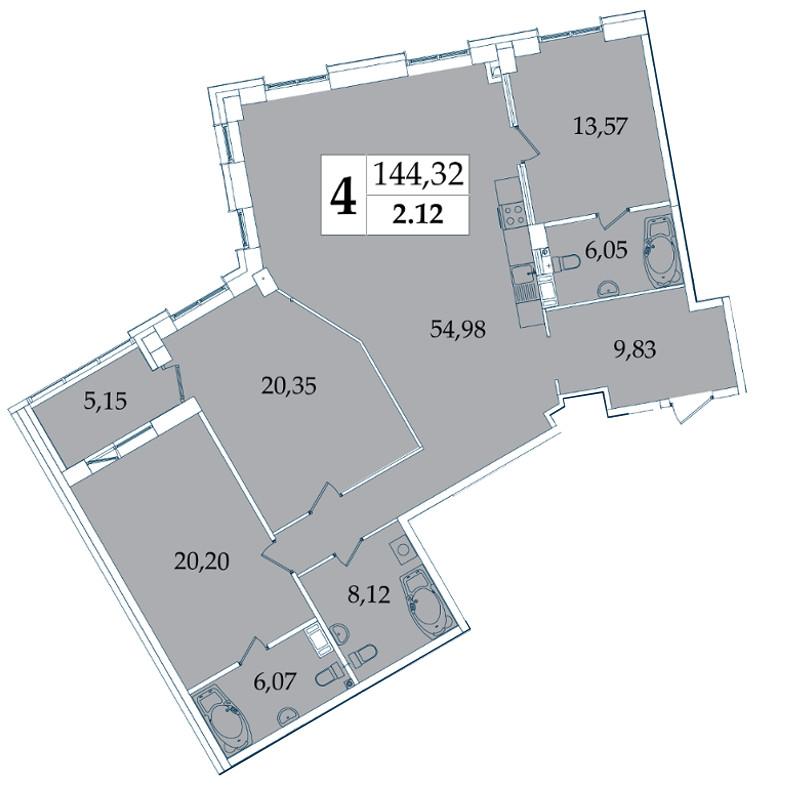 Планировка Трёхкомнатная квартира площадью 144.32 кв.м в ЖК «Avatar»