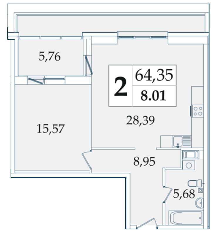 Планировка Однокомнатная квартира площадью 64.35 кв.м в ЖК «Avatar»