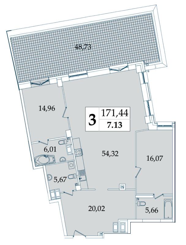 Планировка Трёхкомнатная квартира (Евро) площадью 171.44 кв.м в ЖК «Avatar»
