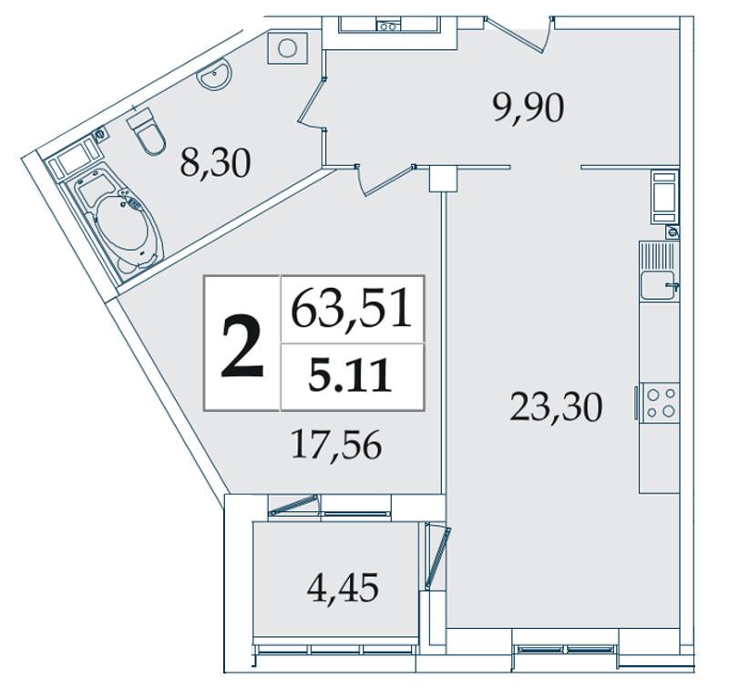 Планировка Двухкомнатная квартира (Евро) площадью 63.51 кв.м в ЖК «Avatar»