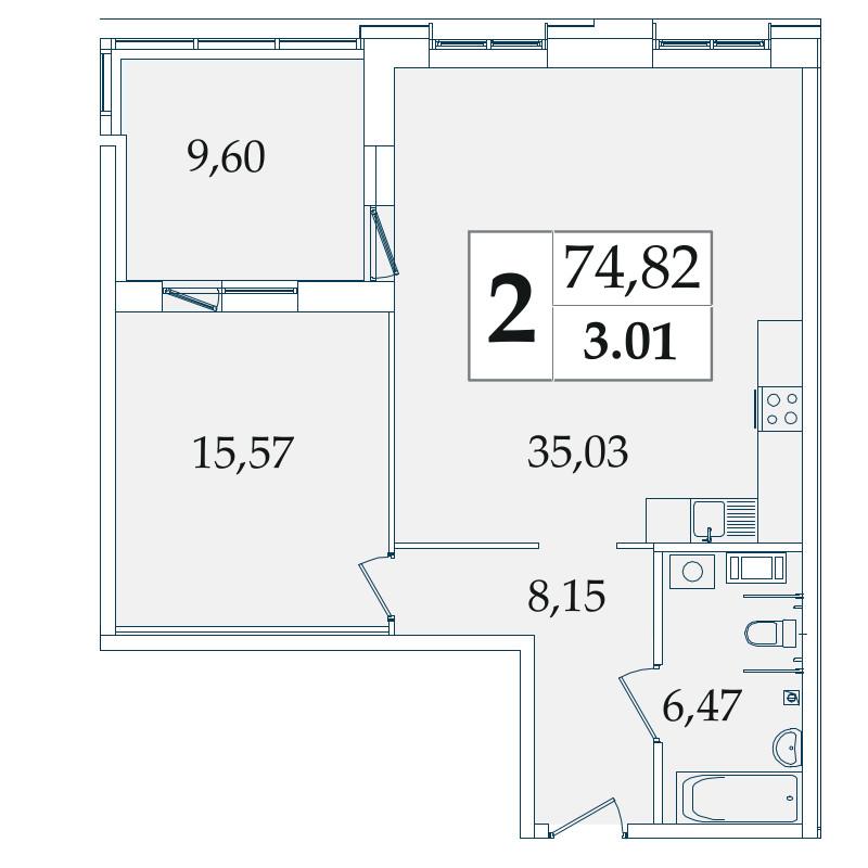Планировка Двухкомнатная квартира (Евро) площадью 74.82 кв.м в ЖК «Avatar»