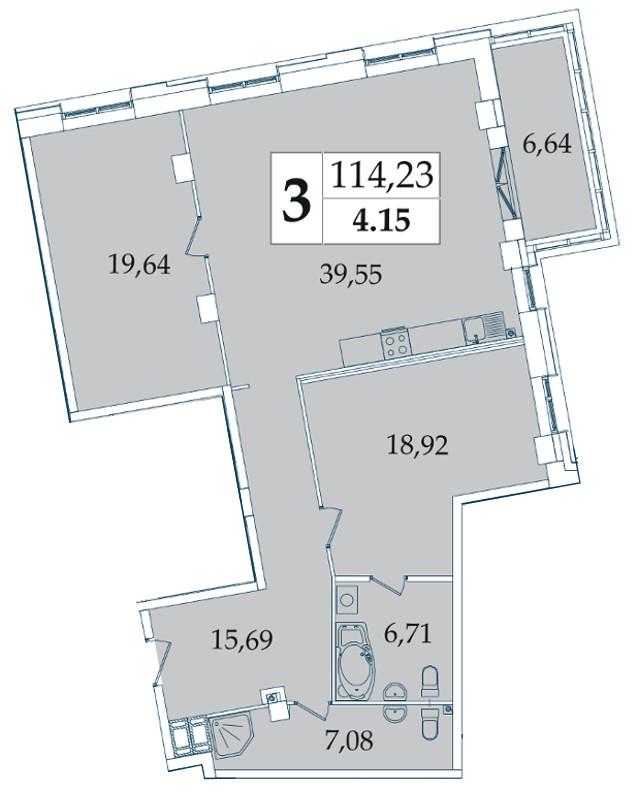 Планировка Двухкомнатная квартира площадью 114.23 кв.м в ЖК «Avatar»