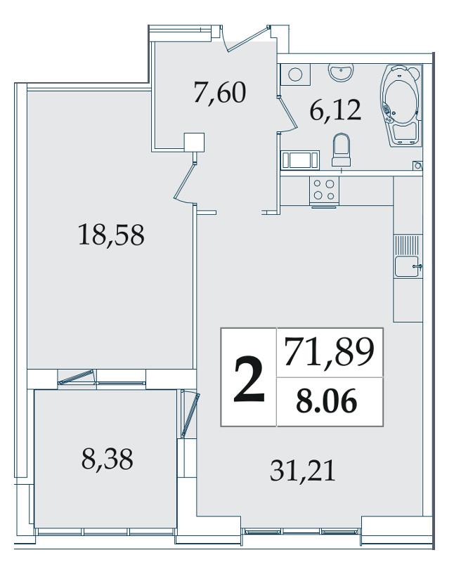Планировка Однокомнатная квартира площадью 71.89 кв.м в ЖК «Avatar»