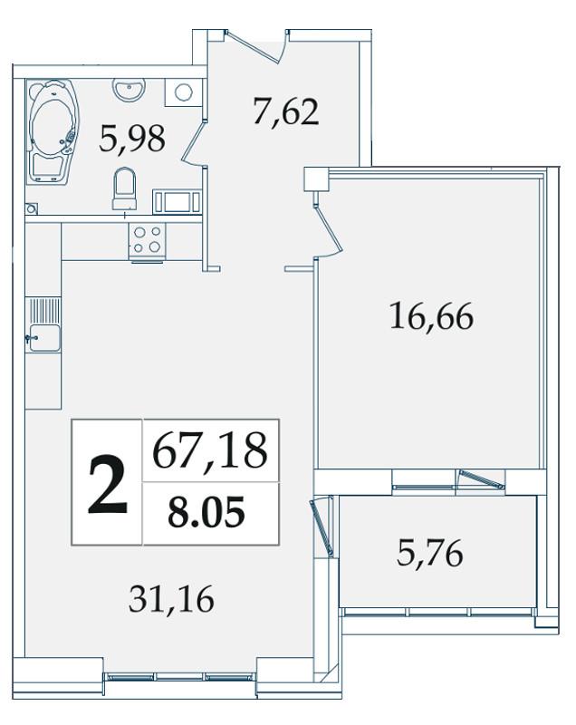 Планировка Однокомнатная квартира площадью 67.18 кв.м в ЖК «Avatar»