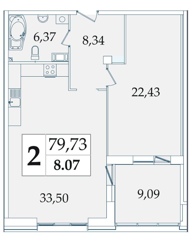 Планировка Однокомнатная квартира площадью 79.73 кв.м в ЖК «Avatar»