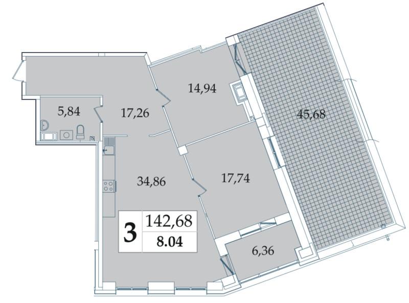 Планировка Трёхкомнатная квартира (Евро) площадью 142.68 кв.м в ЖК «Avatar»
