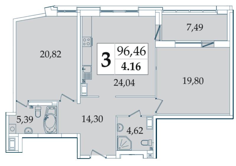 Планировка Трёхкомнатная квартира (Евро) площадью 96.46 кв.м в ЖК «Avatar»