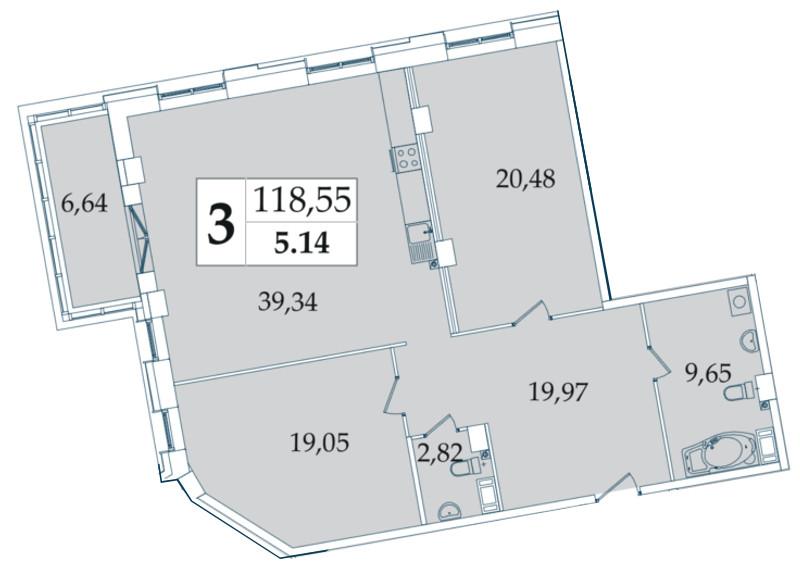 Планировка Трёхкомнатная квартира (Евро) площадью 118.55 кв.м в ЖК «Avatar»