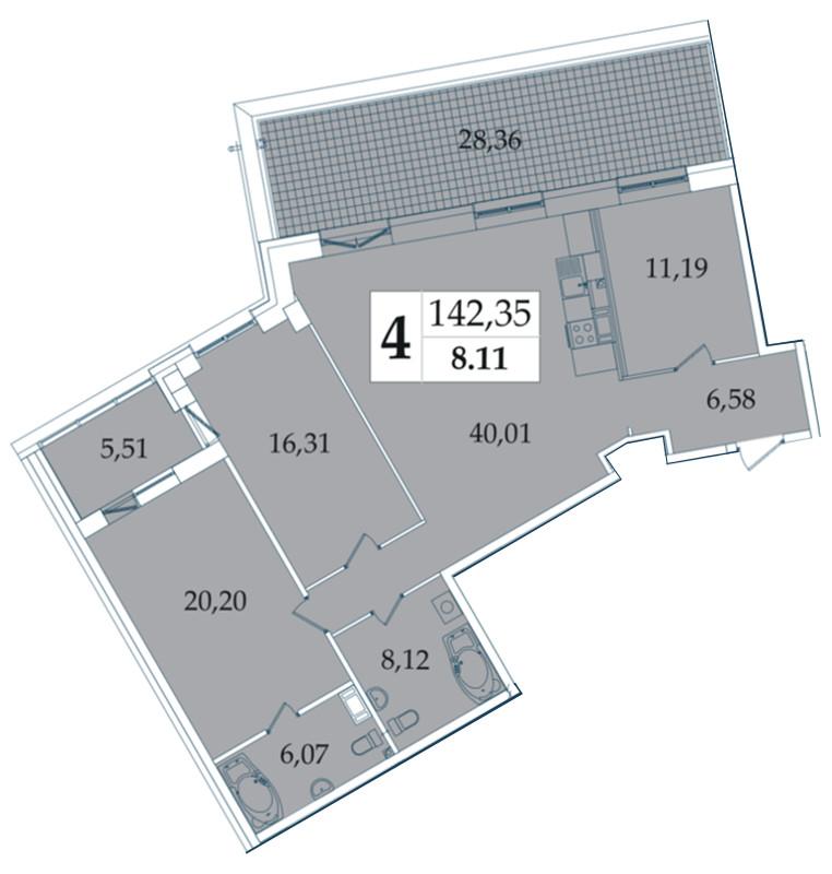 Планировка Четырёхкомнатная квартира (Евро) площадью 142.35 кв.м в ЖК «Avatar»
