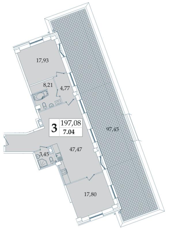 Планировка Двухкомнатная квартира площадью 197.08 кв.м в ЖК «Avatar»