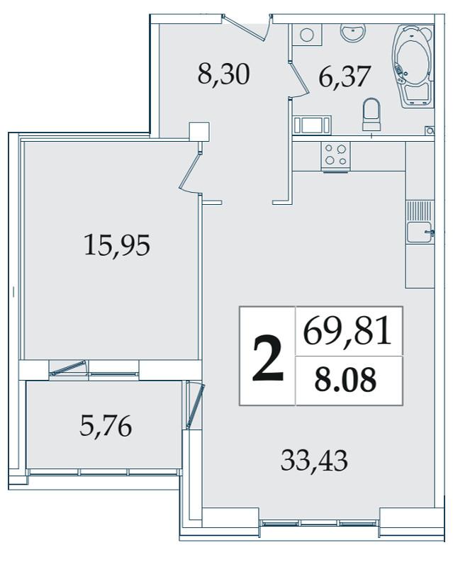 Планировка Однокомнатная квартира площадью 69.81 кв.м в ЖК «Avatar»