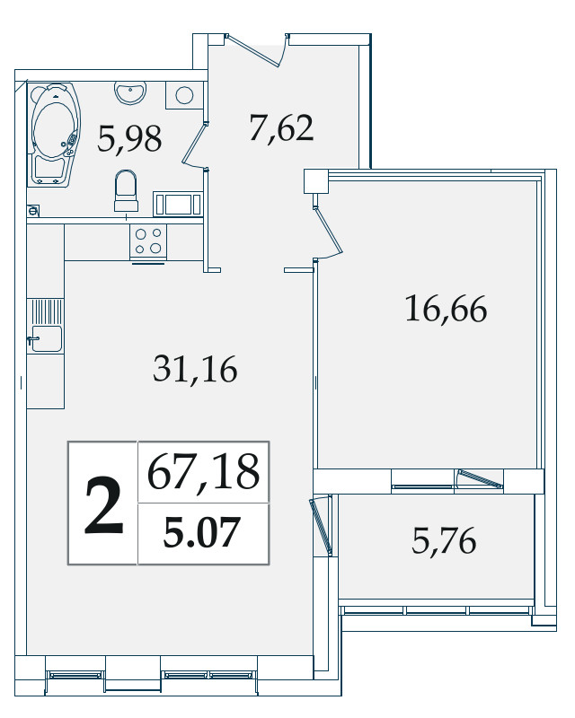 Планировка Двухкомнатная квартира (Евро) площадью 67.18 кв.м в ЖК «Avatar»