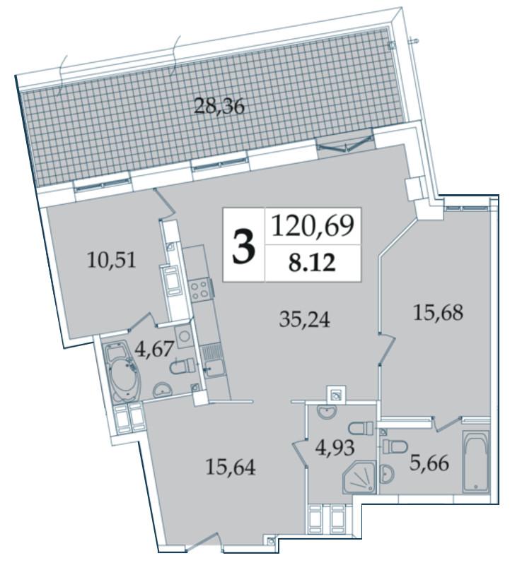 Планировка Трёхкомнатная квартира (Евро) площадью 120.69 кв.м в ЖК «Avatar»